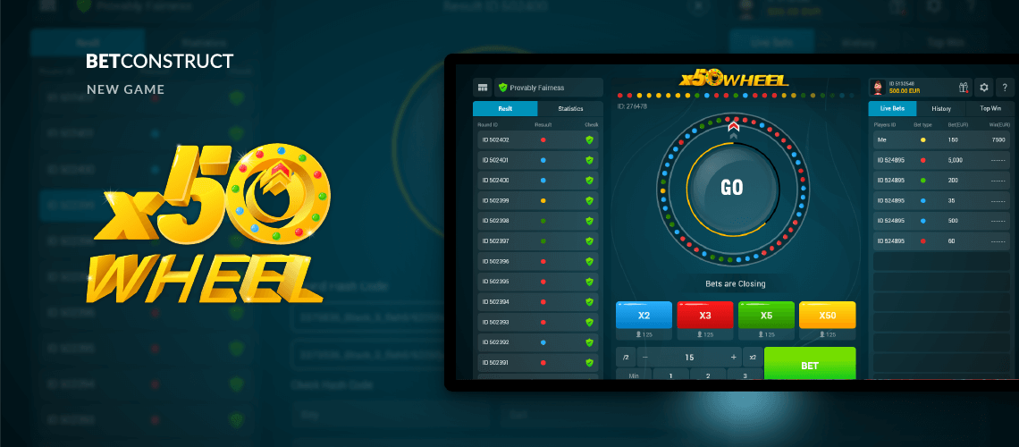 BetConstruct Launches a New Game Called x50Wheel
