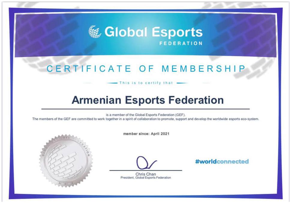 ФКА стала членом Global Esports Federation (GEF)