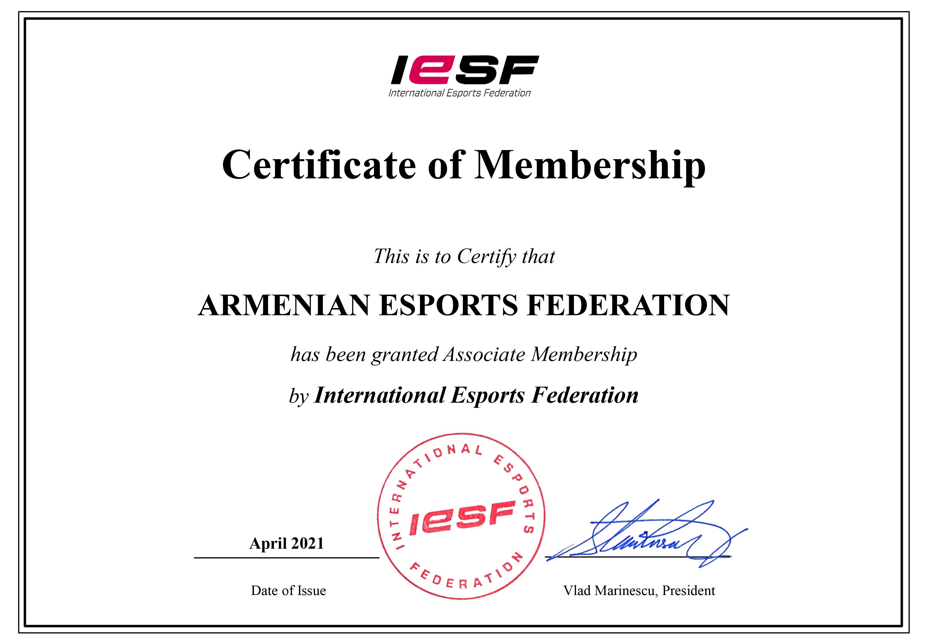 Федерация киберспорта Армении официально стала членом Международной федерации киберспорта (IeSF)